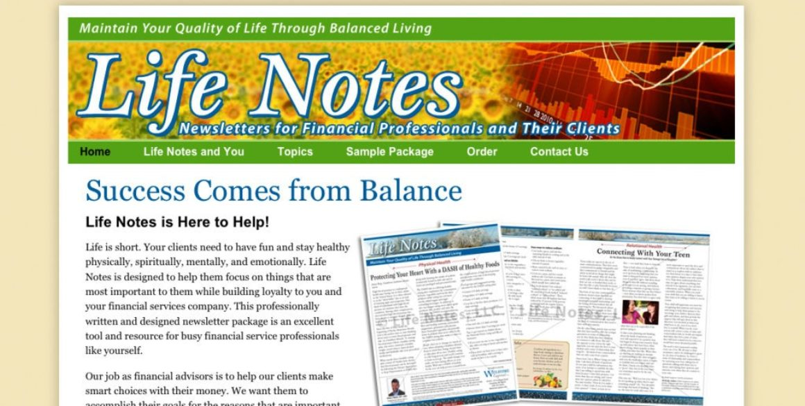 The BLÜ Group partners with Life Notes Newsletters and creates a new website for them.