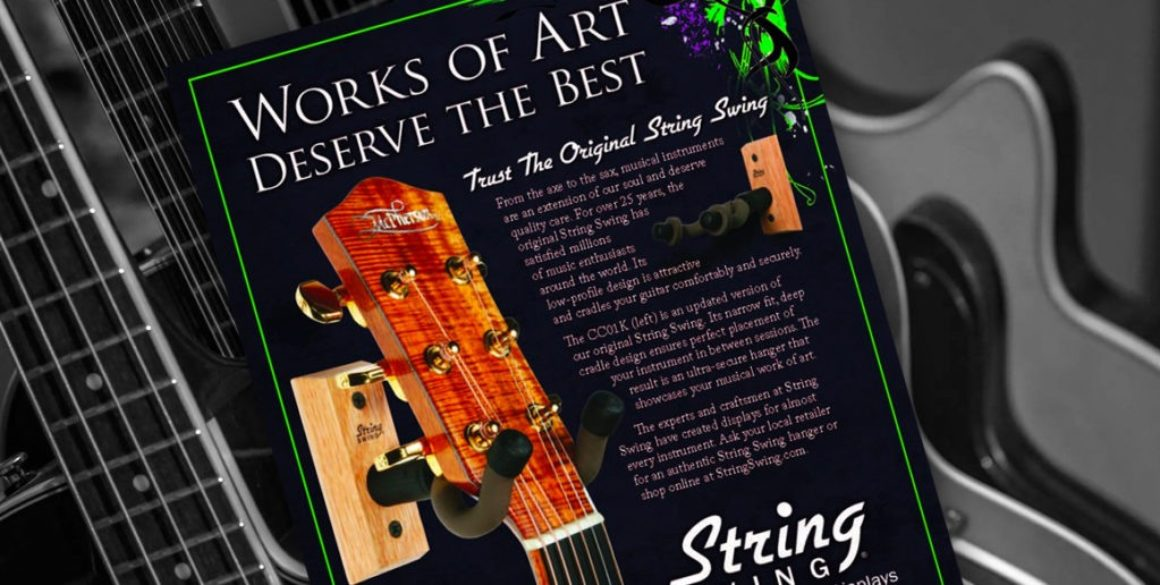 The BLÜ Group partners with String Swing to design a full-page magazine ad promoting their guitar hooks.