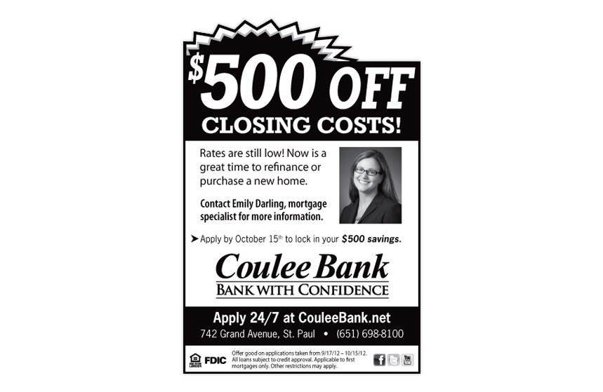 """Coulee Bank """"$500 Off Closing Costs!"""" Home Mortgage Print Ad"""