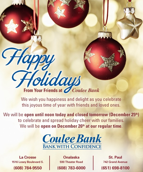 Coulee Bank Christmas Card
