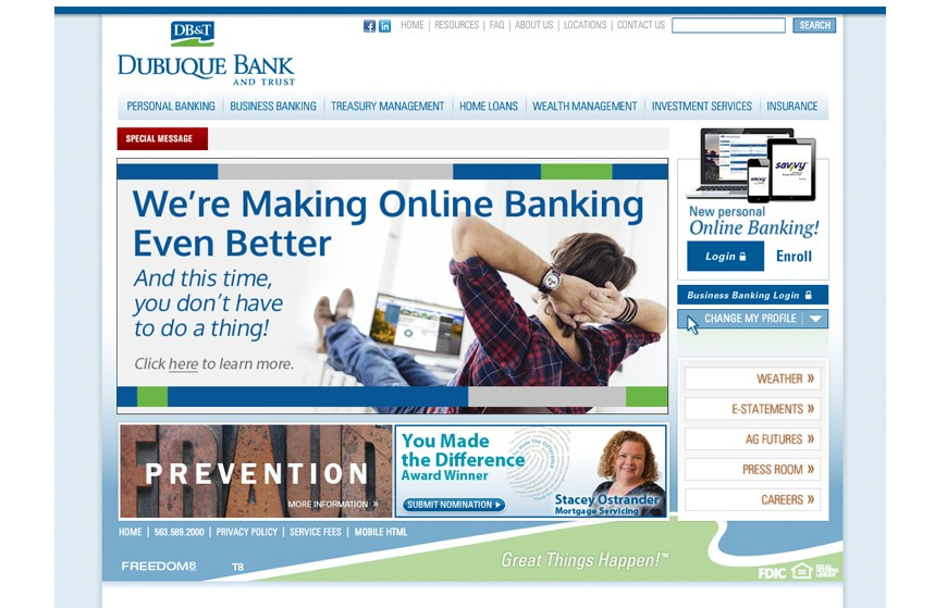 Debuque Bank and Trust Mobile Banking Upgrade Ad