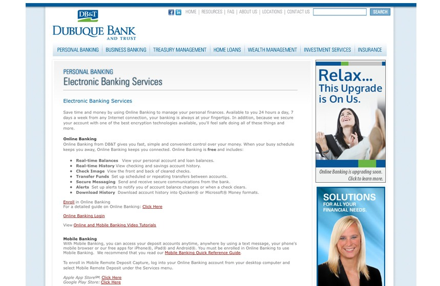 Debuque Bank and Trust Electronic Banking Web Ad
