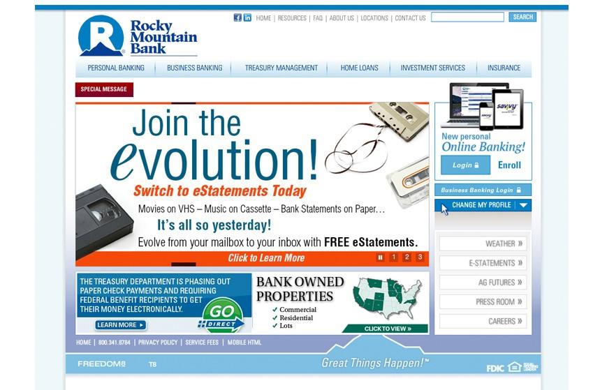 Rocky Mountain Bank eStatement Homepage Web Ad