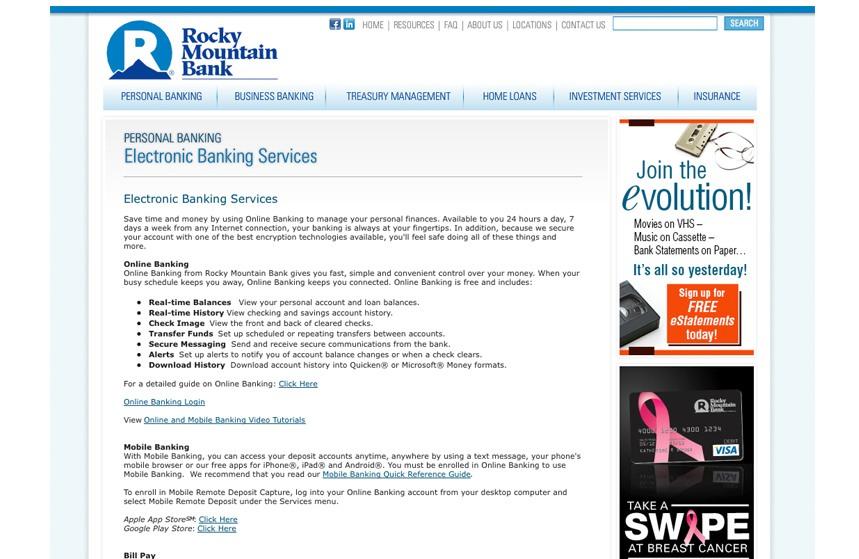 Rocky Mountain Bank eStatement Web Ad