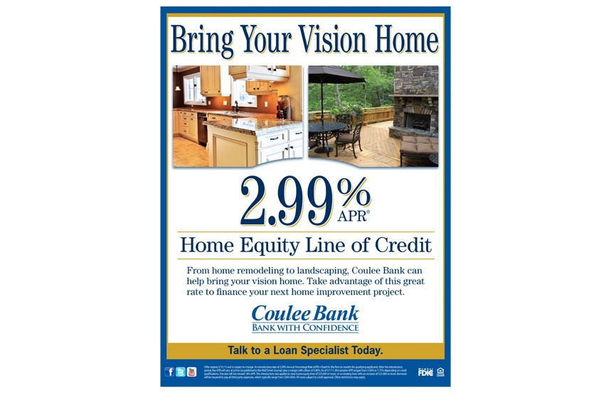 """Coulee Bank """"Bring Your Vision Home"""" Home Equity Line of Credit Poster"""