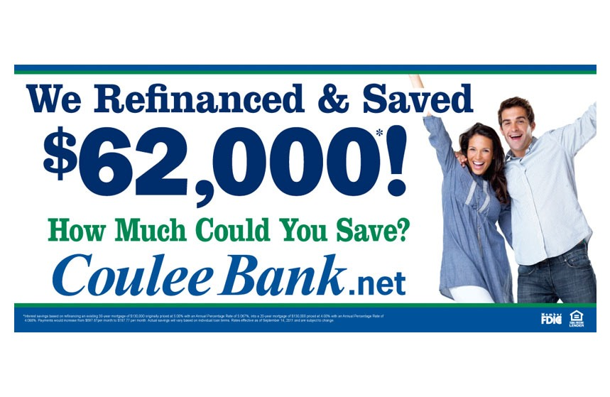 """Coulee Bank """"Refinance and Save"""" Billboard"""