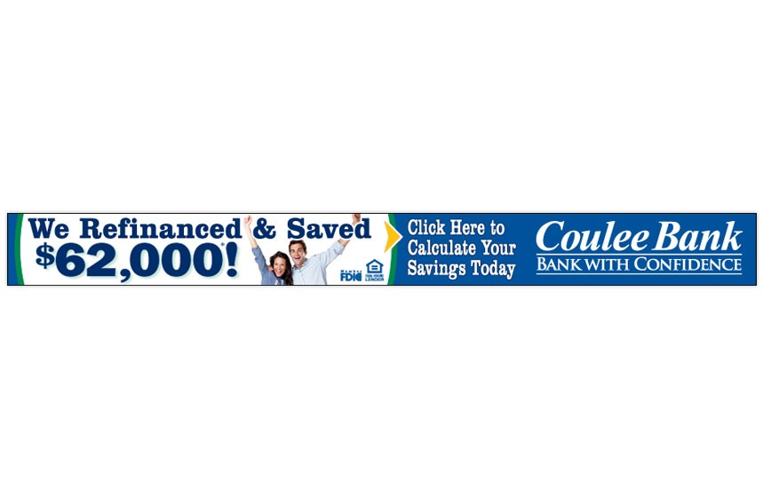 """Coulee Bank """"Refinance and Save"""" Online Banner"""