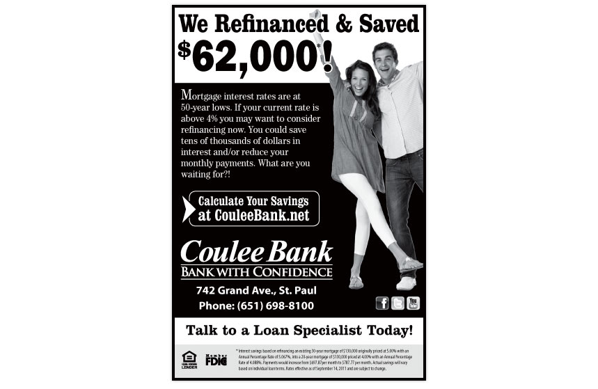 """Coulee Bank """"Refinance and Save"""" Print Ad"""