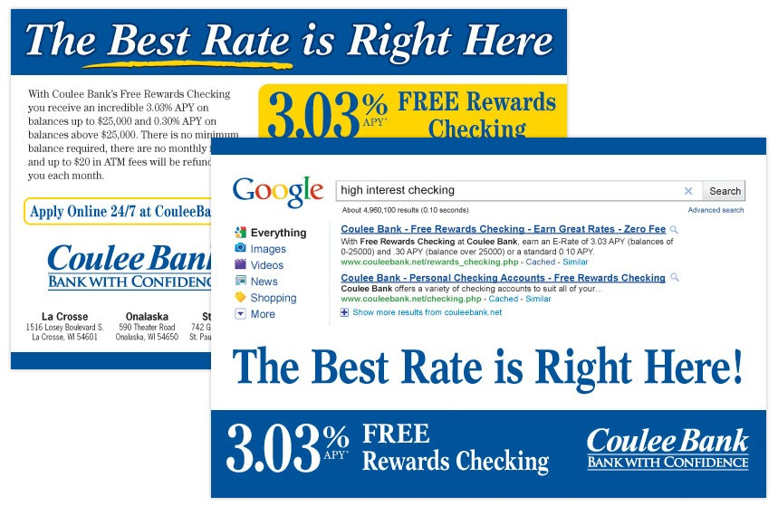 """Coulee Bank """"The Best Rate is Right Here"""" Rewards Checking Direct Mail"""