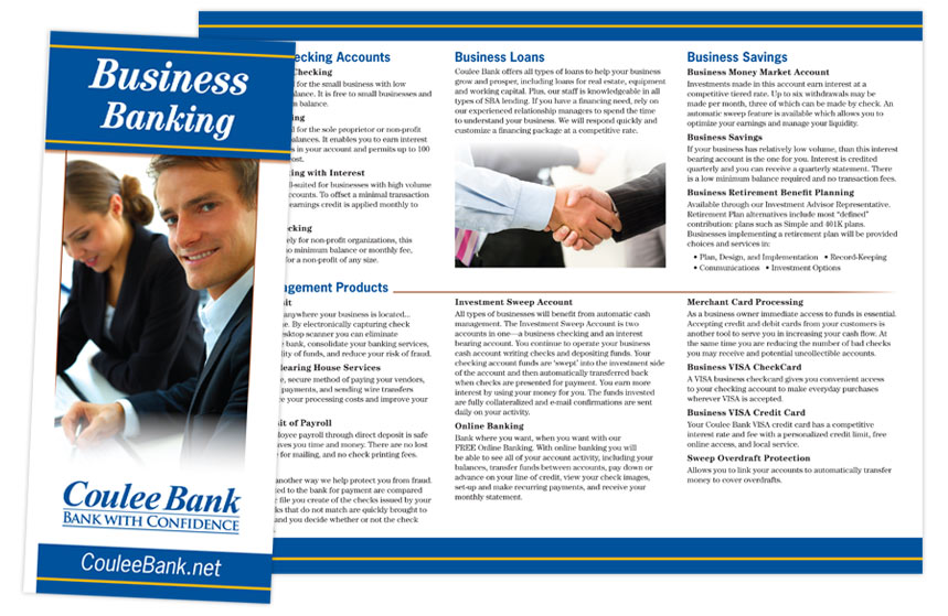 """Coulee Bank """"Business Banking"""" Brochure"""