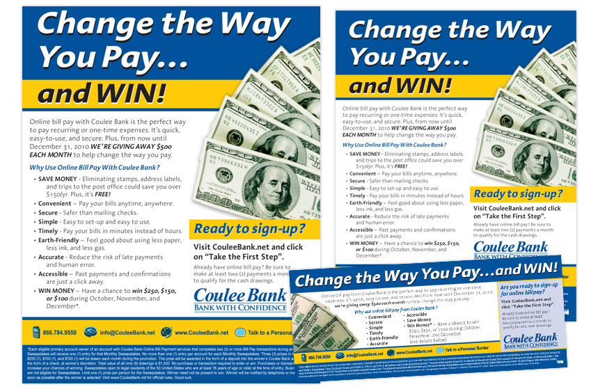 """Coulee Bank """"Change the Way You Pay"""" Bill Pay Print Materials"""
