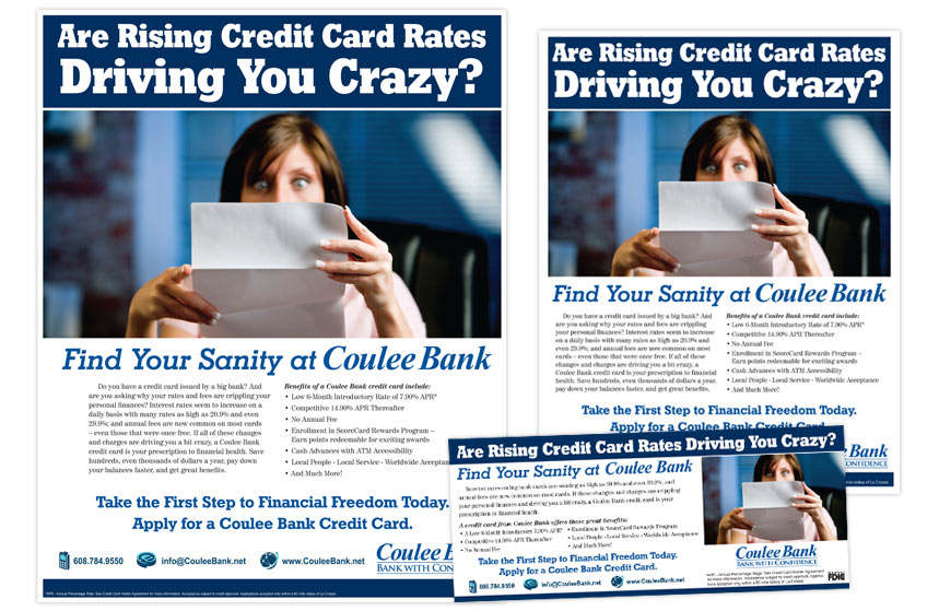 """Coulee Bank """"Take the First Step"""" Credit Card Print Materials"""