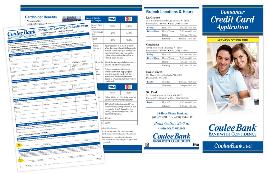 """Coulee Bank """"Credit Cards"""" Brochure"""