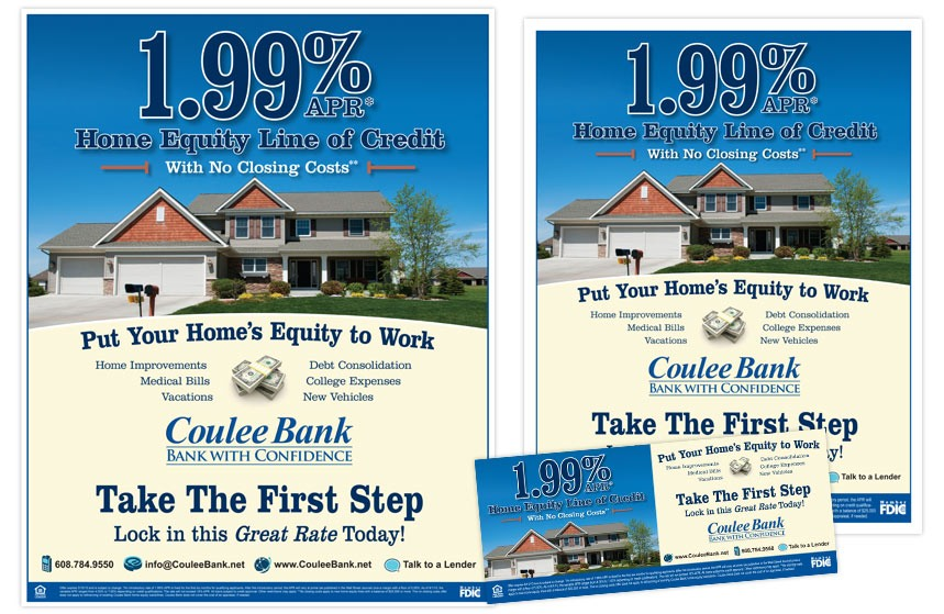 """Coulee Bank """"Take the First Step"""" Home Equity Line of Credit Print Materials"""