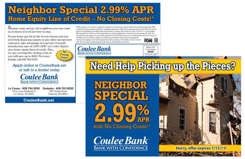 """Coulee Bank """"Neighbor Special"""" Home Equity Line of Credit Direct Mail"""