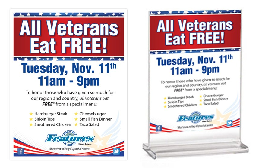 Features Veterans Day Promo Items