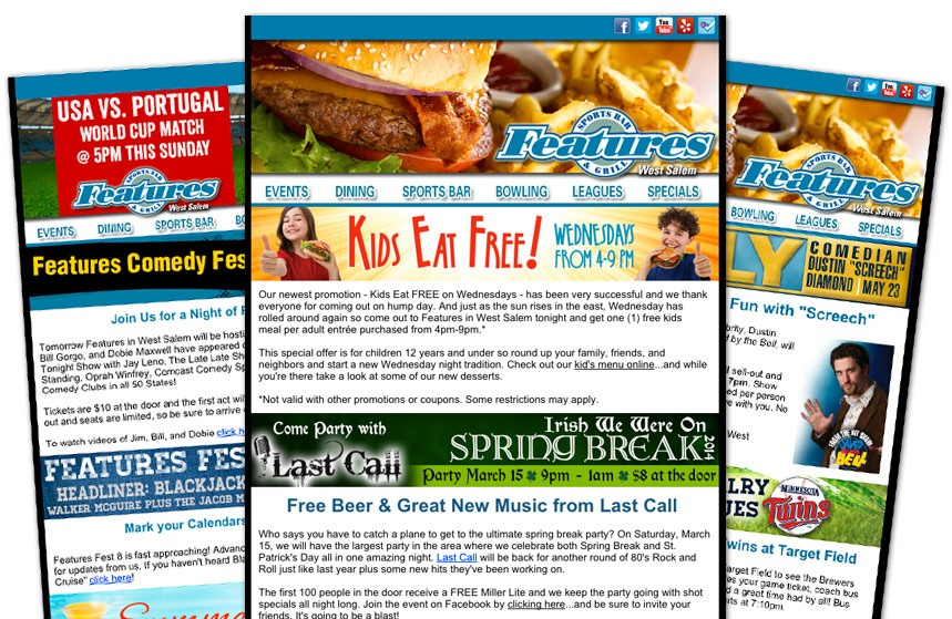 Features Sports Bar and Grill E-Newsletters