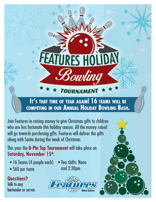 Features Holiday Bowling Tournament Poster
