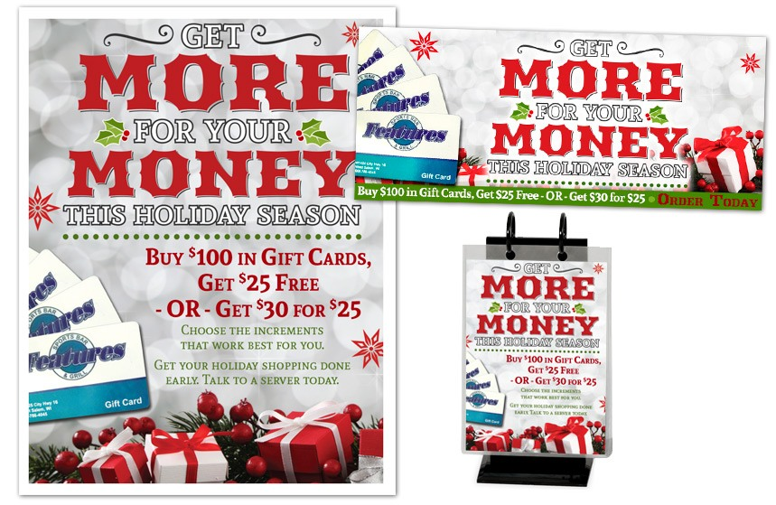 Features Sports Bar and Grill Holiday Gift Cards Promotion