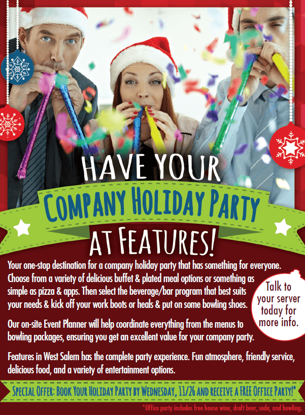 Features Company Holiday Party Ad