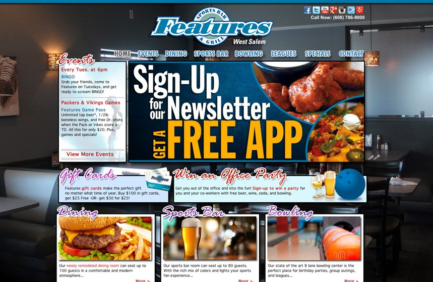 Features Sports Bar and Grill Website