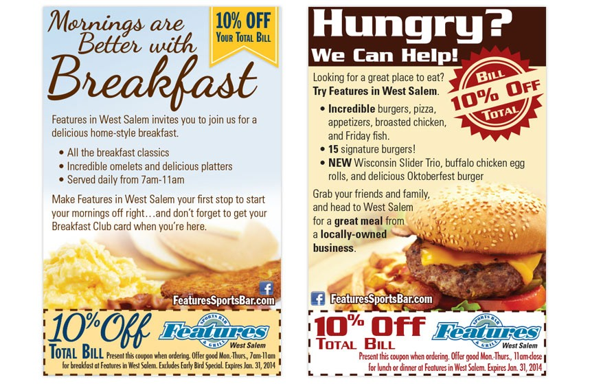 Features Breakfast and Lunch Ads