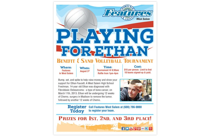Features Fundraising Benefit Poster