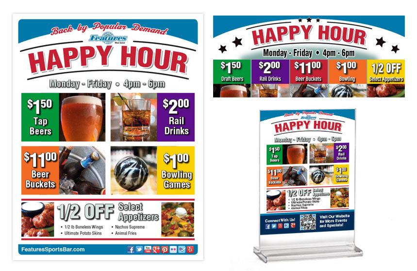 Features Happy Hour Promos Pieces