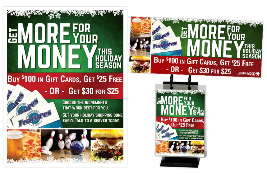 Features Holiday Gift Card Pieces