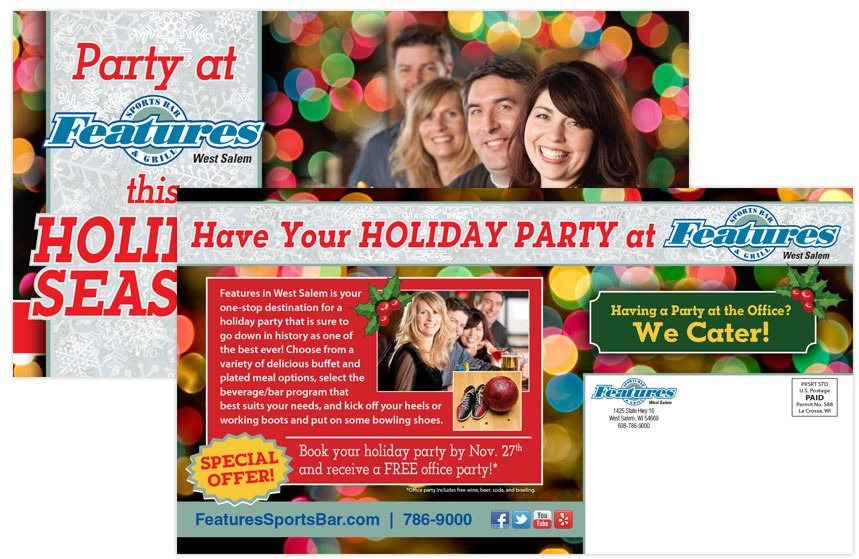 Features Holiday Gift Card Direct Mail