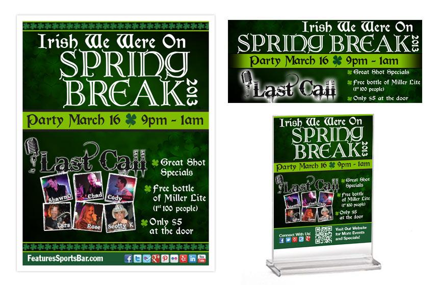Features Irish Spring Break Promos