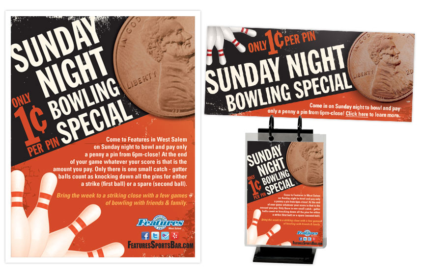 Features Sunday Night Bowling Special Items