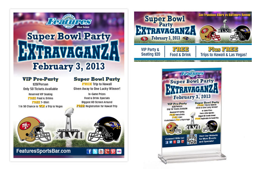 Features Superbowl Promo Items