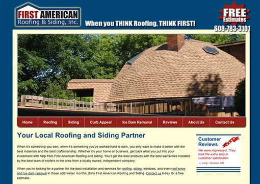 First American Roofing Website