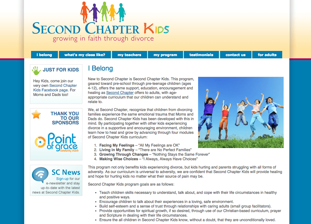 Second Chapter Kids Divorce Recovery Website