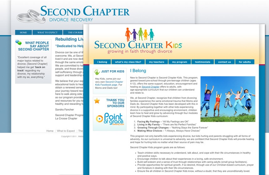 Second Chapter and Second Chapter Kids Divorce Recovery Websites