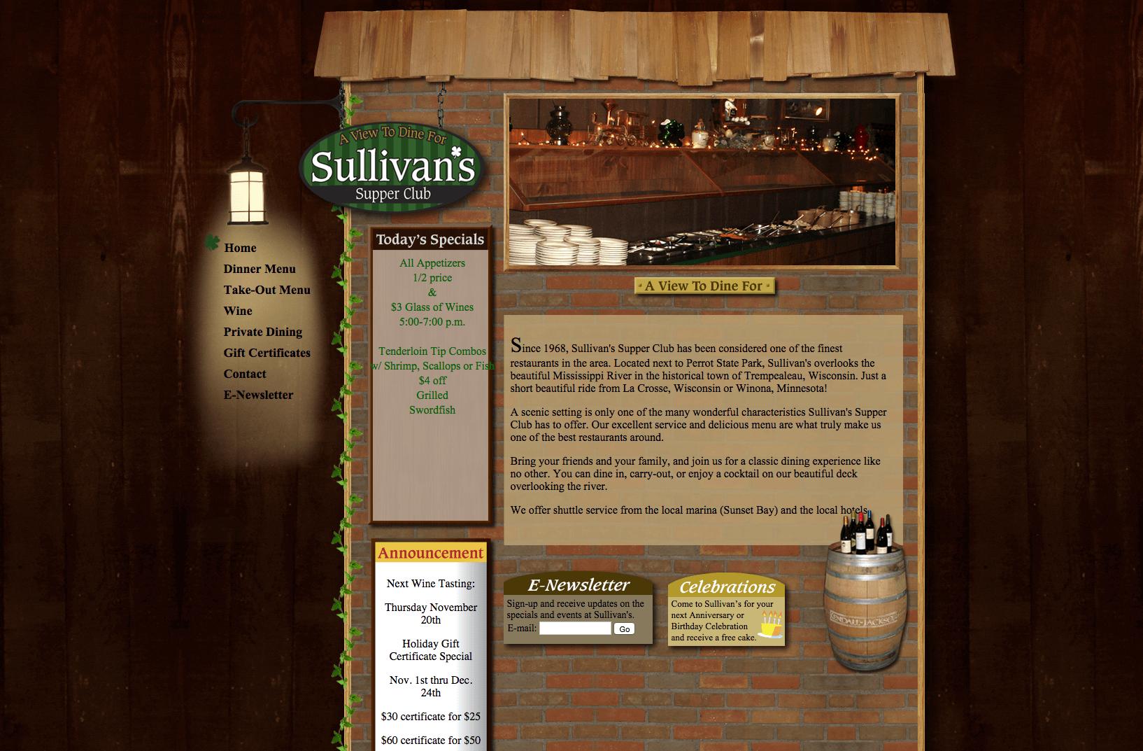 Sullivan's Supper Club Website