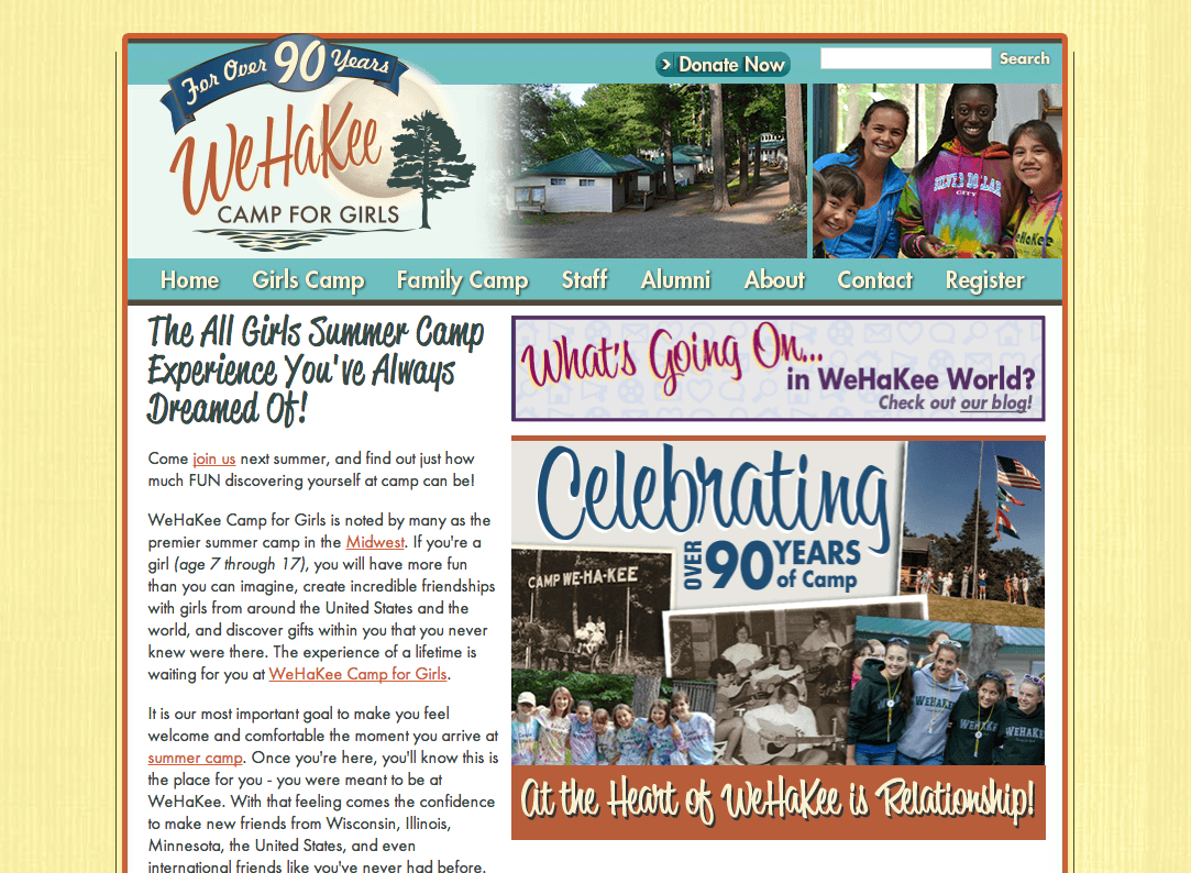 WeHaKee Camp for Girls Website