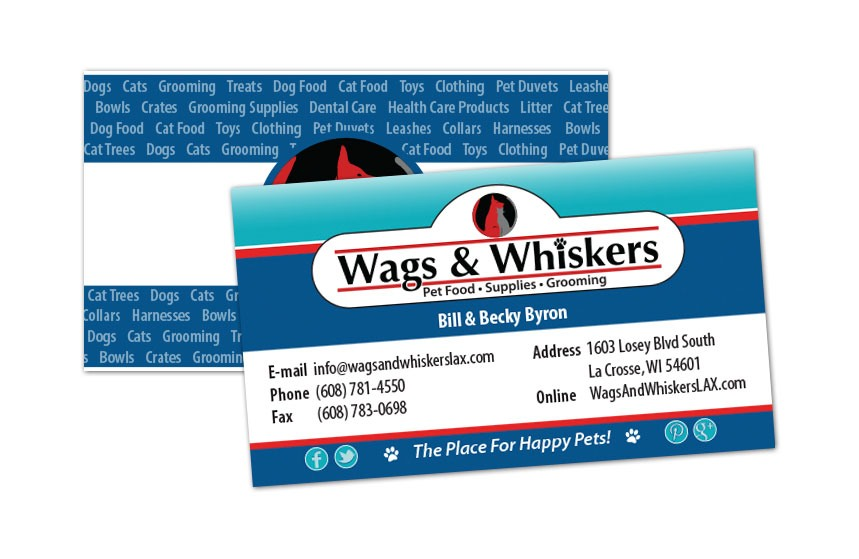 Wags and Whiskers Business Card for Bill and Becky Byron