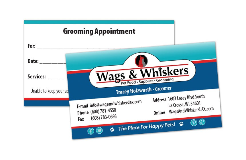 Wags and Whiskers Groomer Business Card