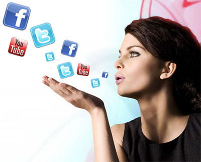 Woman and Social Networks - Facebook, Twitter, and YouTube