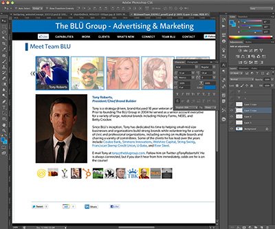 The BLU Group website in Photoshop