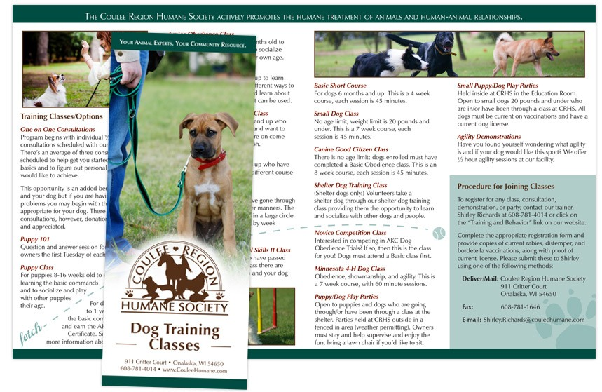 Coulee Region Humane Society Dog Training Brochure