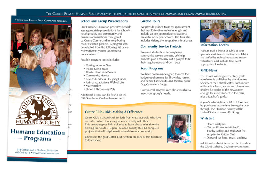 Coulee Region Humane Society Education Brochure