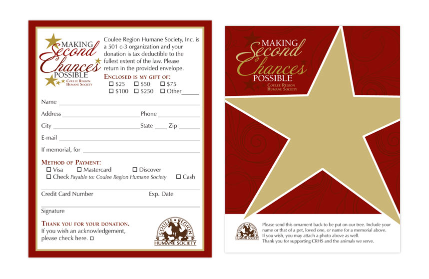 Coulee Region Humane Society holiday Donation Card