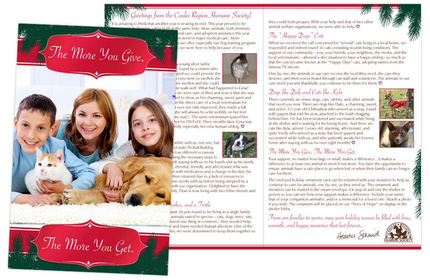 Coulee Region Humane Society Holiday Appeal Card