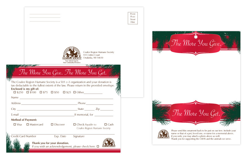 Coulee Region Humane Society Holiday Appeal Postcard Ornament