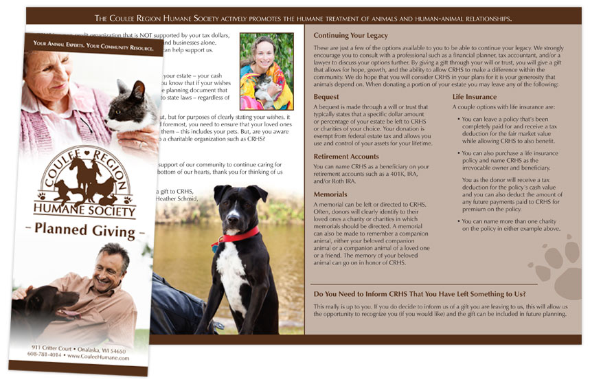 Coulee Region Humane Society Planned Giving Brochure