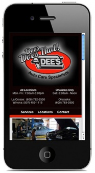 Dee's Auto Care Specialists Mobile Website