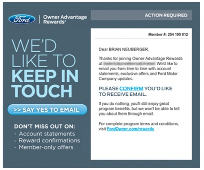 E-mail from Ford - Owner Advantage Rewards